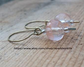 Orange Bead Dangle, Brass Wire Earrings, Handmade Jewellery, Drop Earrings