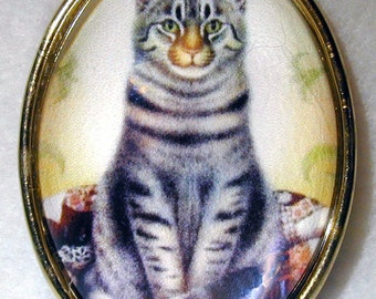 Glass Dome Button Grey Tabby Cat  Sitting Up- in Brass Setting CO 07