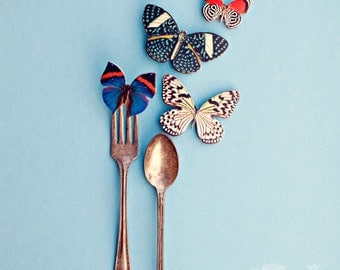 Fine Art Print, Kitchen Art, Cafe Decor, Silverware Photo, Fork, Spoon, Eatery, Butterfly Art, Whimsical Print, Wonderland, Colorful Art