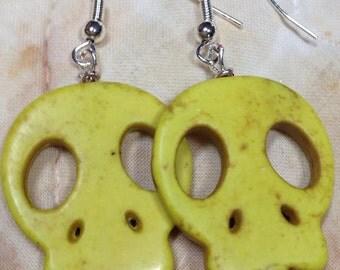 Skull  turquoise earrings      drop earrings, pierced yellow jewelry  gift for her  DRW77 Halloween