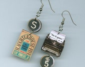 Book Cover Earrings - Slaughterhouse-Five Vonnegut - typewriter Quote So it Goes - literary book club gift - mismatched earrings