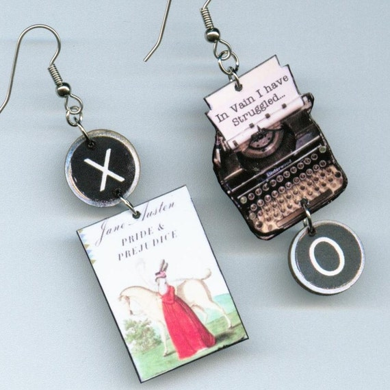 Book cover EARRINGS - Pride and Prejudice Jane Austen quote - Typewriter key literary jewelry - book club gift