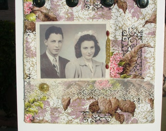 CUSTOM  ORDER  -   Vintage Fabric and Mixed-Media Collage Quilt - Wall Hanging
