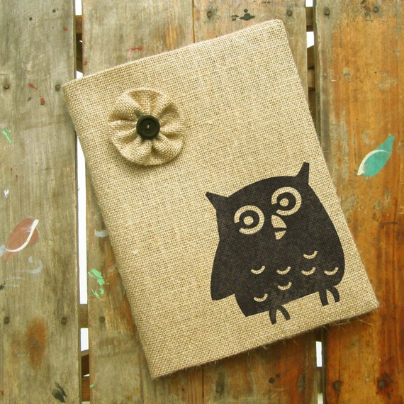 Owl -  Burlap Feed Sack Journal Cover w. Notebook - Owl Journa;