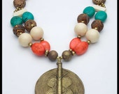 50% OFF! AFRICAN BUTTERFLY - Handforged African Pendant - Mixed Gems 2 Strand Statement Necklace