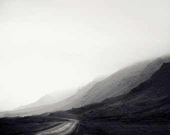 "Landscape Photography, Black and White Photography, Iceland Print, Nature Art, Mountains Road in Fog, 8x8 Wall Art ""Less Traveled"""