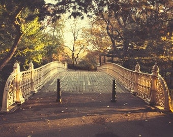 "Central Park in Autumn, Fall Decor, NYC Bridge Photography, Fall Photography, Bridge Print, New York Prints, Wall Art  ""Morning Glow"""