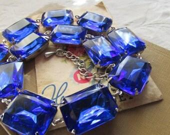 Blue Statement Necklace, sapphire necklace, Art Deco jewelry, art deco necklace, holiday necklace, blue bridal necklace, cruize jewelry