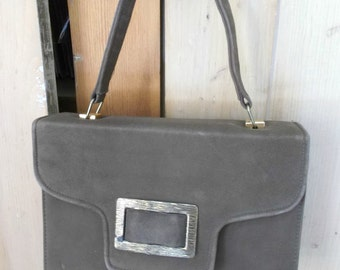 Vintage Purse Faux Suede Beige Box Shape Buckle Mod Mid Century Bag 60s