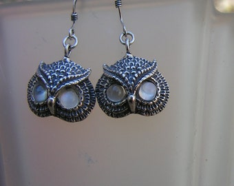 Sterling Silver Owl Earrings With Moonstone Eyes