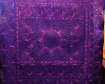 Wholecloth Art Quilt Wall Hanging Crystals Arwen OOAK