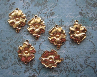 Magnolia Connector Flower Links Brass Jewelry Supplies on Etsy x 6
