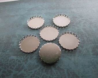 Cabochon Settings 26mm Bezel Round Lace Edge Silver Tone Findings on Etsy x 6