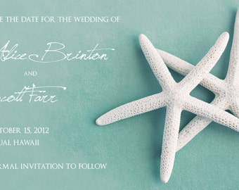 25 magnets per set- 2x3.5 Wedding save the date Magnets- WHITE STARFISH on blue