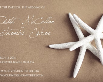 25 magnets per set- 4x6 Wedding save the date Magnets- WHITE STARFISH on brown
