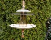 Glass Bird Feeder Recycled Garden Decor-Gray, Brown, Tan
