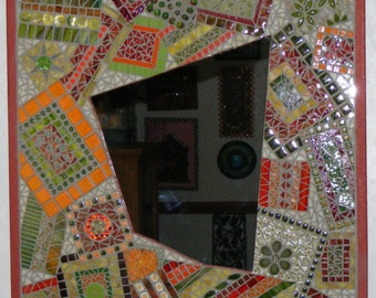 Mosaic Mirror-Stained Glass Mixed Media-Orange, Red, Green, Yellow