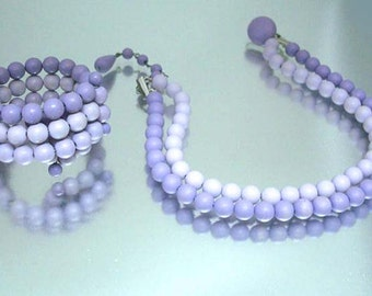 Purple Memory Bracelet & Necklace Vintage Beads Jewelry Set