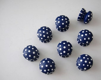 Set of 8 Large Nail Covers ...Drawer Pulls .NAVY .  Hand Painted Dresser Knobs