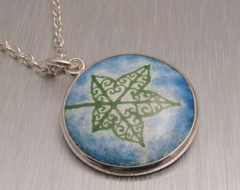 Enamel and Silver Pendant - Green and Blue Ivy Leaf