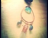 Naia, Healing light, Chalcedony, labradorite, lemurian Quartz, Jasper, Coral necklace