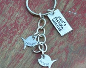 hand stamped grandpa-dad-father-papa keychain-children fish keychain-father's day