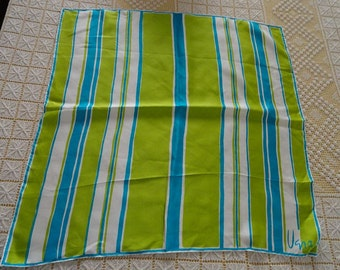 Vintage 70s Vera Neumann Striped Turquoise and Lime Green Square Scarf