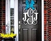 Custom MONOGRAM door hanger / BURLAP bow/ House warming gift/Block and Script/ 24 inch/ chevron/Initial/wooden/wedding gift/front door decor