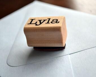 kid's name custom rubber stamp - wood