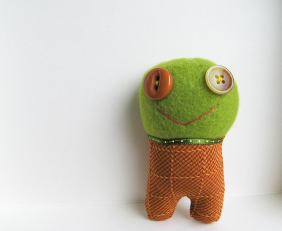 Green Monster - Stuffed Animal - Pretend Play - Plushie Monster - Play Time - Monster Lovie - Monster Doll - Monster Plush - Monster Softie