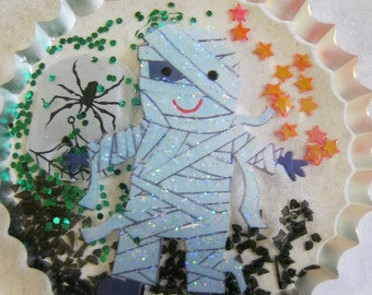 Halloween Mummy and Spider with Web Resin Cabochon