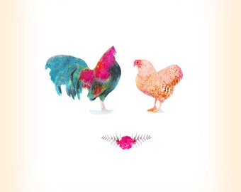 Chicken and Rooster Print - Marriage Art - Kitchen Decor -
