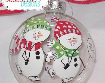 Running Couple Ornament - Snowman Running Friends