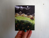 In the Distance, illustrated blank card, orange tent camping hike, nature rustic, glossy finish