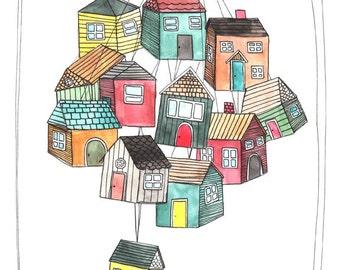 Art - Art Print - Illustration Art - Art with Houses - Illustration Print - Illustration - 8x10 Art Print - My Thoughts are Like Houses