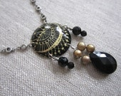 Antique Lace Recycled Vintage Tin Necklace with Freshwater Pearl, Onyx and Silver, Long