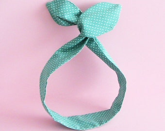 Dolly Bow Headwrap-Wired or Knotted on Light Teal Polka Dots