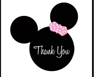addresss labels, round or square, minnie mouse, set of 20