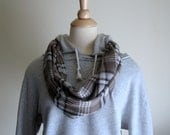 Plaid Flannel Scarf, Journey Infinity Scarf - Brown, Men's Scarf, Women's Scarf, Modern, Camping, Hiking, Biking