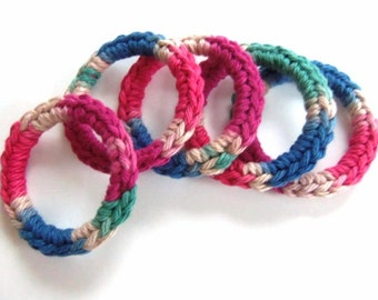 Cat and Ferret Toys, Recycled Rings Toy, Blue Pink Red Green Tan Brown, Gifts for Cats and Ferrets