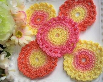 Large Crochet  Flower Motif , 5 Sherbet  appliqué Flowers, r Coasters,  headbands, scrap booking, display.