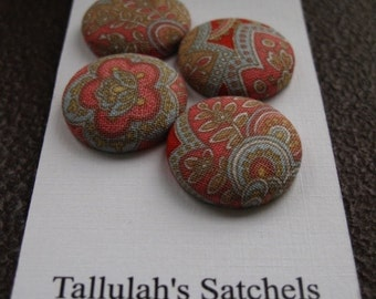 Wearable Sew On Fabric Covered Buttons - Size 36 or  7/8 inches  Paisley