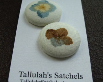 """Wearable Sew On Fabric Covered Buttons - Size 45 or 1 1/8"""" Brown and Blue Flowers"""