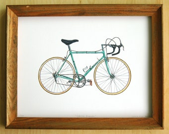 """Classic Bianchi Bicycle - 9""""x12"""" Limited Edition Watercolour Illustration Archival Print"""