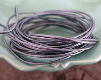 Metallic Gray Round Leather Cord, .5mm -8 foot cutting