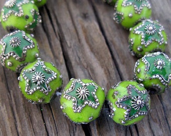 Qty 3 Exotic Green/Verde Cloisonne Beads 12mm -Set of 3