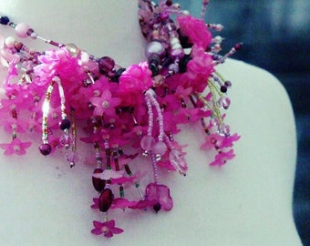 Necklace, statement necklace  'MADAME BUTTERFLY' pink multi stranded necklace with cherry blossom clusters and carnations