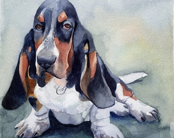 Basset Hound Art Print of my watercolor painting  Basset Hound Dog