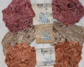 Seam Binding - New Set - 18 Yards - SHABBY AUTUMN - Rust Ribbon - Dark Dusty Pink Ribbon - Beige Seam Binding Ribbon