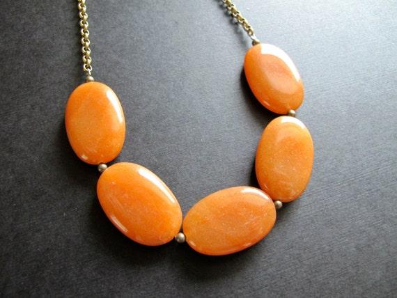 chunky orange gemstone necklace aventurine bib necklace fall